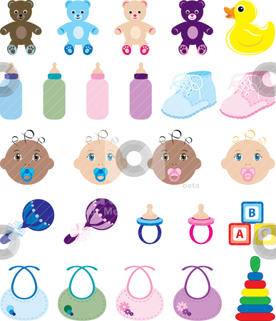 Baby Icons stock vector clipart, Vector Illustration of 25 baby isolated icons. by Basheera Hassanali