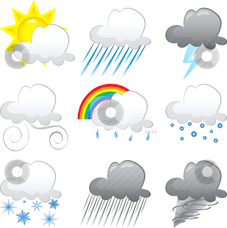 Cloud Icons stock vector clipart, Vector Illustration of 9 cloud weather Icons. Very Easy to edit. by Basheera Hassanali