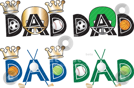 Dad Text stock vector clipart, Vector Illustration of Dad Text 1 in four versions. by Basheera Hassanali