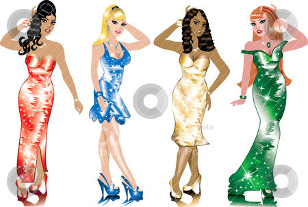 Formal Gown Women stock vector clipart, Formal Gown Women, can be used for Weddings, Beauty Pageants, Parties, Christmas, Valentines Day, St. Patricks Day, Prom or more. by Basheera Hassanali
