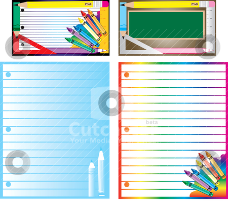 School Business Set stock vector clipart, Vector of educational business cards, template and letterheads for school or teaching. by Basheera Hassanali