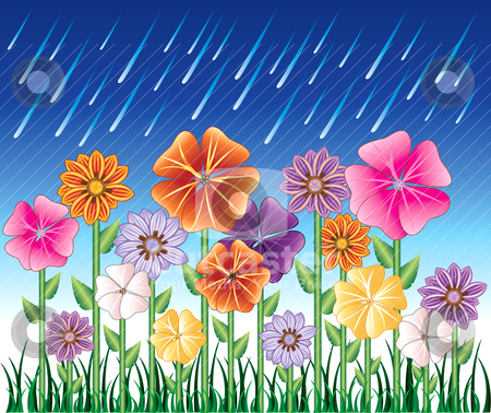 Spring Day 2 stock vector clipart, Vector illustration of a Spring Day 2 with Rain and Flower Garden with grass. by Basheera Hassanali