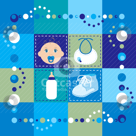 Baby Boy Quilt stock vector clipart, Vector Illustration of baby boy quilt. Patchwork or sewing, background. by Basheera Hassanali