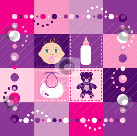 Baby Girl Quilt 2 stock vector clipart, Vector Illustration of baby girl quilt 2. Patchwork or sewing, background. by Basheera Hassanali