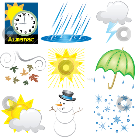 Weather Icons stock vector clipart, Vector Illustration of 9 Weather Icons. Very Easy to edit. by Basheera Hassanali