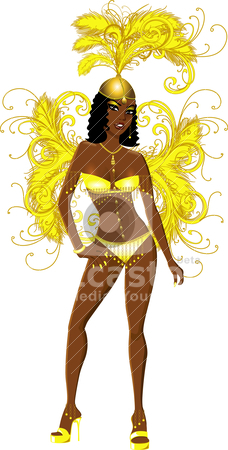Carnival Yellow Girl stock vector clipart, Vector Illustration for carnival costume or las vegas showgirl. by Basheera Hassanali