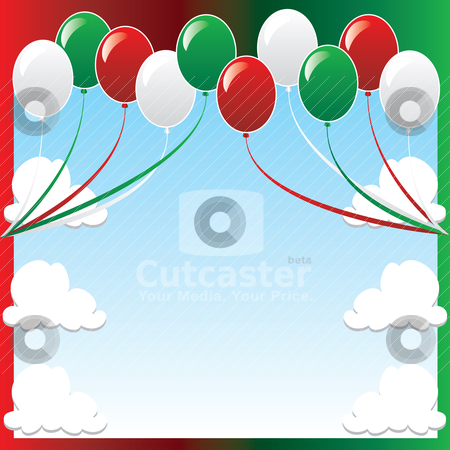 Christmas Balloon Background stock vector clipart, Vector Illustration of 10 balloons with red and green backgound and a place for text or imagery.  by Basheera Hassanali