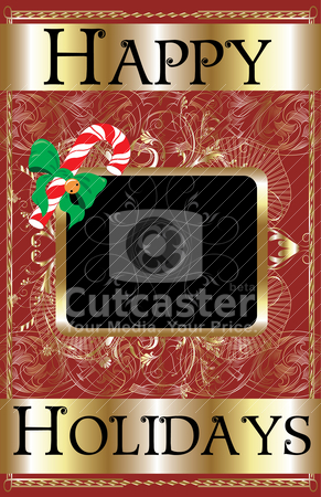 Happy Holidays Candy Cane stock vector clipart, Vector Illustration of a Happy Holidays Candy Cane Poster. by Basheera Hassanali