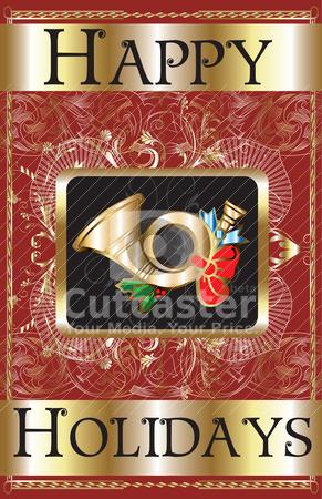 Happy Holidays Gold Horn stock vector clipart, Vector Illustration of a Happy Holidays Gold Horn Poster. by Basheera Hassanali
