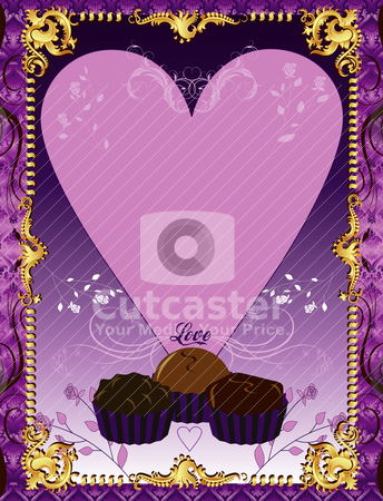 Purple Chocolate Card stock vector clipart, Vector Illustration. A template background Purple Chocolate Card or invitation. May add photo and/or text. by Basheera Hassanali