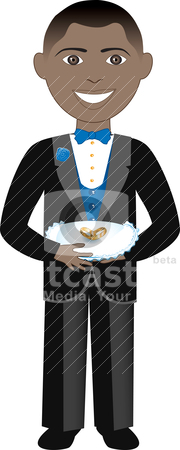 Ring Bearer stock vector clipart, Vector of boy with rings and pillow. Ring Bearer 2. by Basheera Hassanali