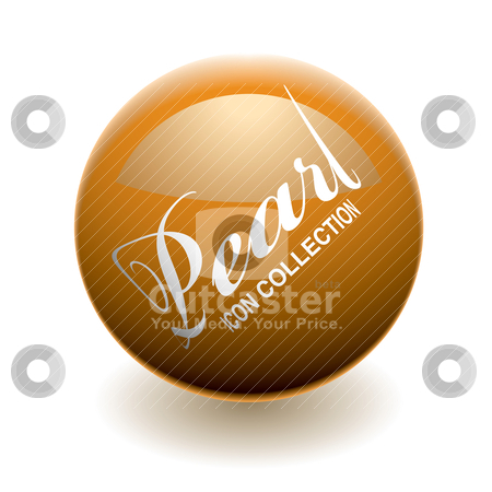 Orange pearl stock vector clipart, Orange pearl or marble with light reflection and shadow by Michael Travers