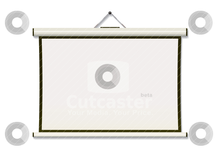 Projection screen hang stock vector clipart, White projection screen hanging from wall with copyspace by Michael Travers