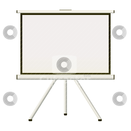 Projection screen stock vector clipart, Blank white modern blank projector screen that folds away by Michael Travers