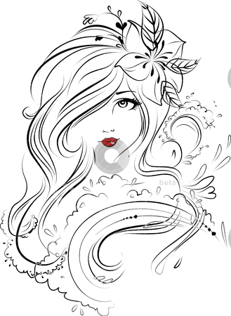 Face stock vector clipart, Its a sketch with emotions depicted on the face through eyes & lipes and the hair ornamented with flowers by shikshyadas