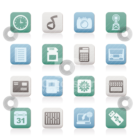 Phone Performance, Internet and Office Icons stock vector clipart, Phone Performance, Internet and Office Icons - Vector Icon Set by Stoyan Haytov