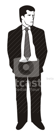 Man in suit stock vector clipart, Illustration of a young man in black suit by fractal.gr