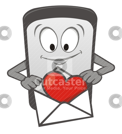 Mobile love cartoon stock vector clipart, Cartoon mobile phone with heart in an envelope by fractal.gr
