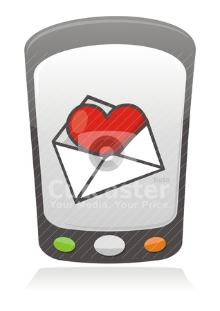 Mobile love icon stock vector clipart, Illustration of cartoon heart inside an envelope on a mobile phone screen by fractal.gr