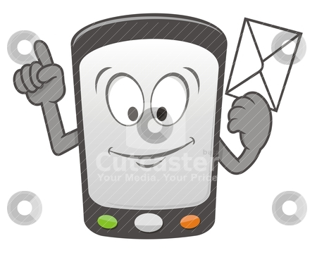 Mobile message cartoon stock vector clipart, Cartoon mobile smart phone holding a message envelope and smiling by fractal.gr