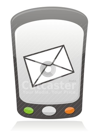 Mobile message icon stock vector clipart, Illustration of a message envelope on a mobile phone screen by fractal.gr
