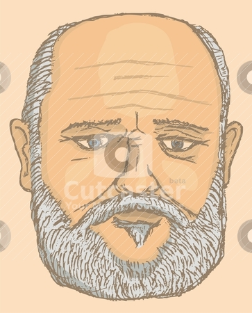 Old man portrait stock vector clipart, Traced and colored pencil illustration of an old man on beige background by fractal.gr