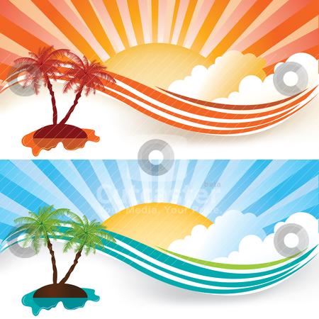 Summer banners stock vector clipart, Summer banner set, vector illustration by Milsi Art