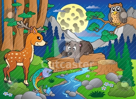 Forest scene with various animals 2 stock vector clipart, Forest scene with various animals 2 - vector illustration. by Klara Viskova