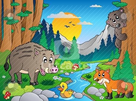 Forest scene with various animals 3 stock vector clipart, Forest scene with various animals 3 - vector illustration. by Klara Viskova