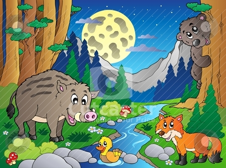 Forest scene with various animals 4 stock vector clipart, Forest scene with various animals 4 - vector illustration. by Klara Viskova