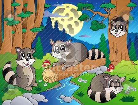 Forest scene with various animals 8 stock vector clipart, Forest scene with various animals 8 - vector illustration. by Klara Viskova