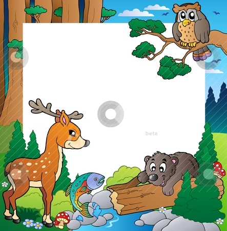 Frame with forest theme 1 stock vector clipart, Frame with forest theme 1 - vector illustration. by Klara Viskova