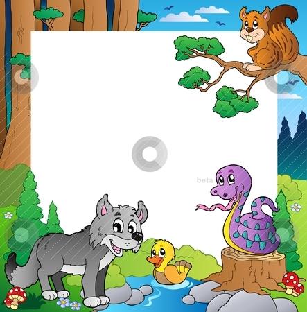 Frame with forest theme 3 stock vector clipart, Frame with forest theme 3 - vector illustration. by Klara Viskova
