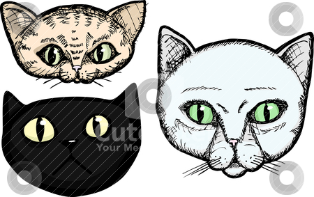 Three Cat Heads stock vector clipart, Three hand-drawn cat head portrait illustrations isolated on a white background by Eric Basir