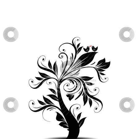 Art tree stock vector clipart, Beautiful abstract art tree with hearts and birds   by Sasas Design