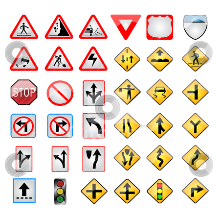 Vector road and turist signs stock vector clipart,  by zabiamedve