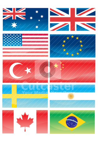 Flags ofl countries stock vector clipart, Flags of countries by zabiamedve