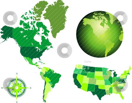 America map and globe stock vector clipart, america map and globe by zabiamedve