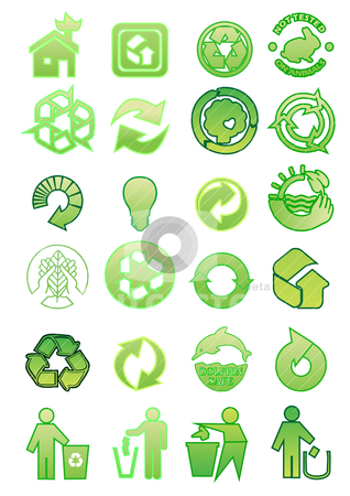 Set of environmental icons stock vector clipart, set of environmental icons by zabiamedve
