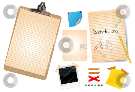 Photo frames and empty notes stock vector clipart, photo frames and empty notes by zabiamedve