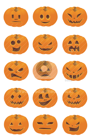 Halloween Pumpkin Smileys stock vector clipart, Halloween Pumpkin Smileys  by zabiamedve