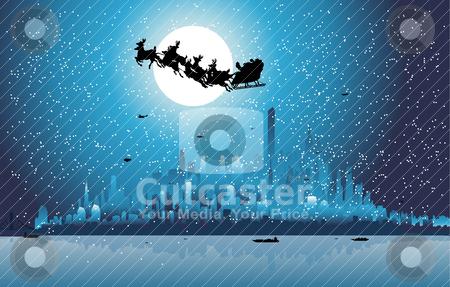 Santa Claus riding his sleigh over a city stock vector clipart, Santa Claus riding his sleigh over a city  by zabiamedve
