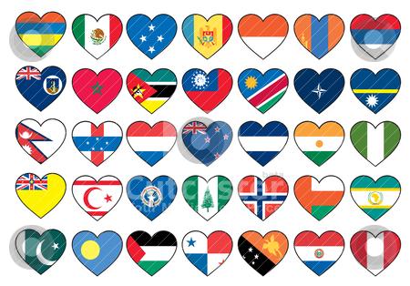 Heart flags set  stock vector clipart, heart flags set  by zabiamedve