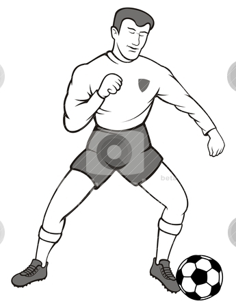 Soccer ball player stock vector clipart, Illustration of a soccer player with a ball on white background. by fractal.gr