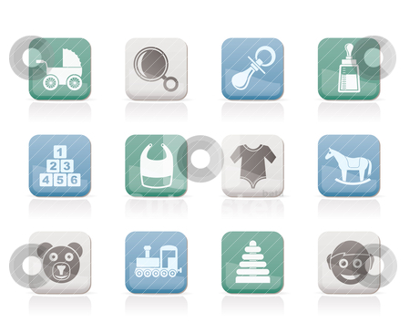 Baby and children icons stock vector clipart, baby and children icons - vector icon set by Stoyan Haytov
