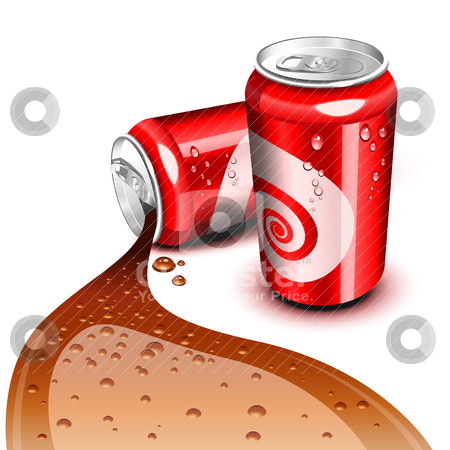 Flowing Cola can stock vector clipart, Opened and closed red can with Cola flowing by Laurent Renault