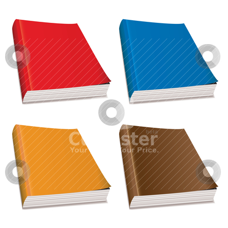 Blank paperback magazine stock vector clipart, Collection of four hardback paper books with bright covers by Michael Travers