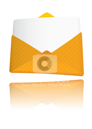 Gold envelope award stock vector clipart, Modern gold award envelope with reflection in background by Michael Travers