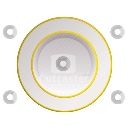 White china gold rim plate stock vector clipart, Clean crisp white china plate with gold rim by Michael Travers