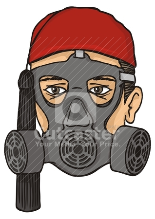Greek evzone head with gas mask stock vector clipart, Greek evzone head with red fez and tassel wearing a gas mask. by fractal.gr